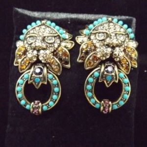 Heidi Daus Lion Crystal Clip On Earrings New